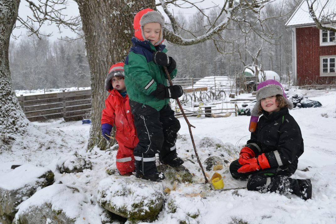 Barn i snöyra på en stenmur krossar äpplen mot stenarna.