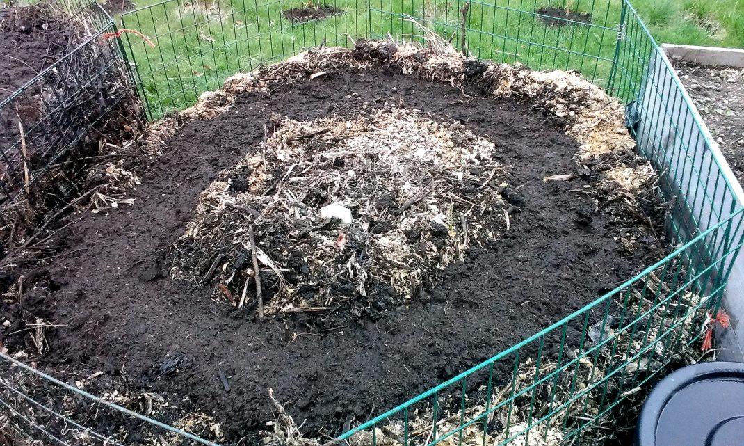 Kompost inramad av enkla kompostgaller.