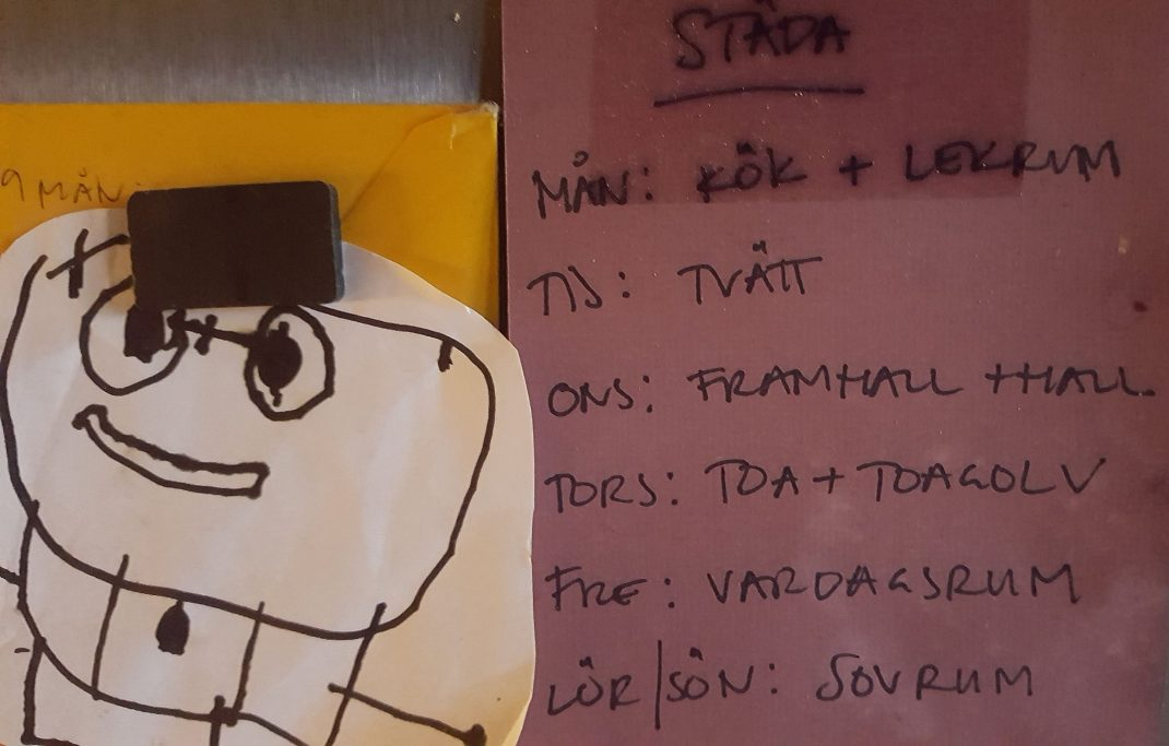 Foto av en lapp på kylskåpet med städschema.