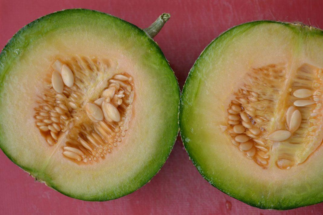 En liten rund melon delad i två halvor.