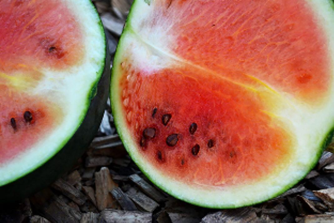 En röd vattenmelon delad i två halvor.