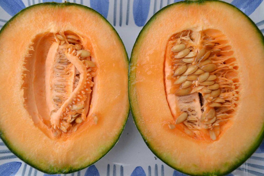 En uppskuren mogen melon på ett fat.