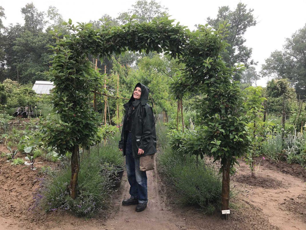 Sara står mitt i en äppelportal i köksträdgården.