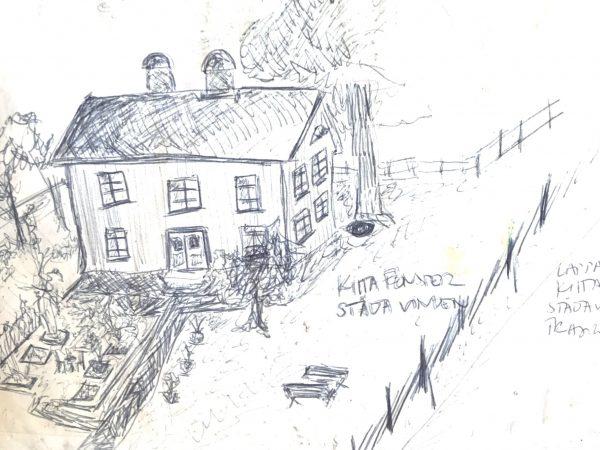 En skiss över ett hus med en tomt.