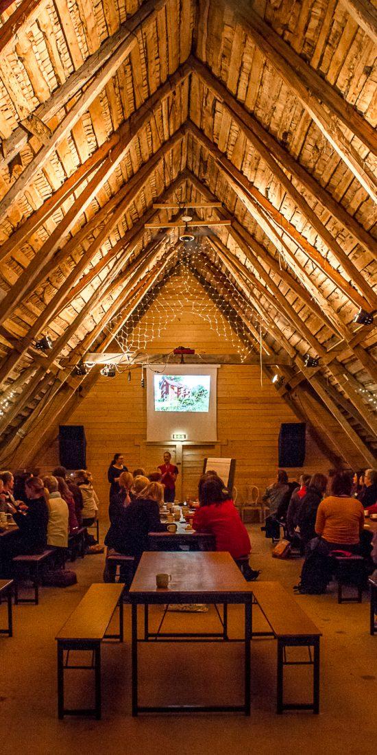 Sara föreläser för ett 40-tal personer i en en loge med högt i tak.