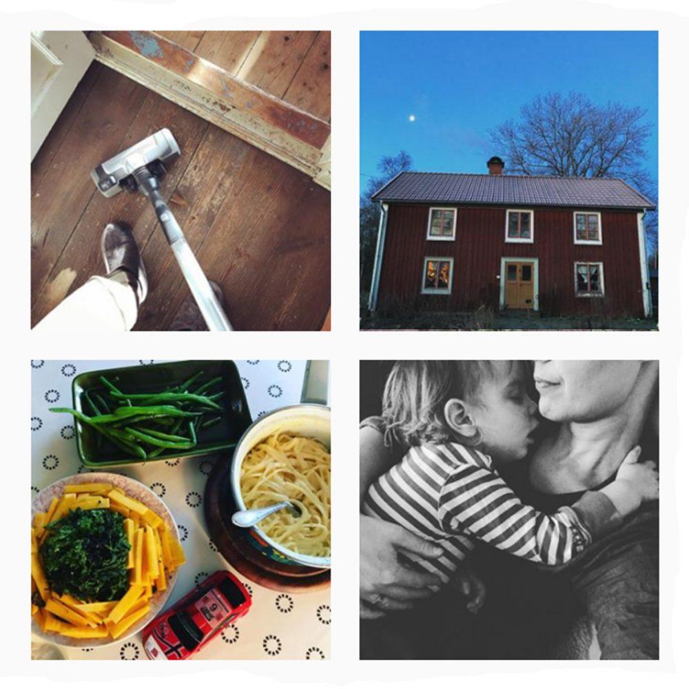 Ett collage av fyra bilder på dammsugning, ett rött timmerhus utifrån, en måltid med pasta, gula morotsstavar, brytbönor och grönkål samt en svartvit bild av Sara och ett litet barn som vilar.