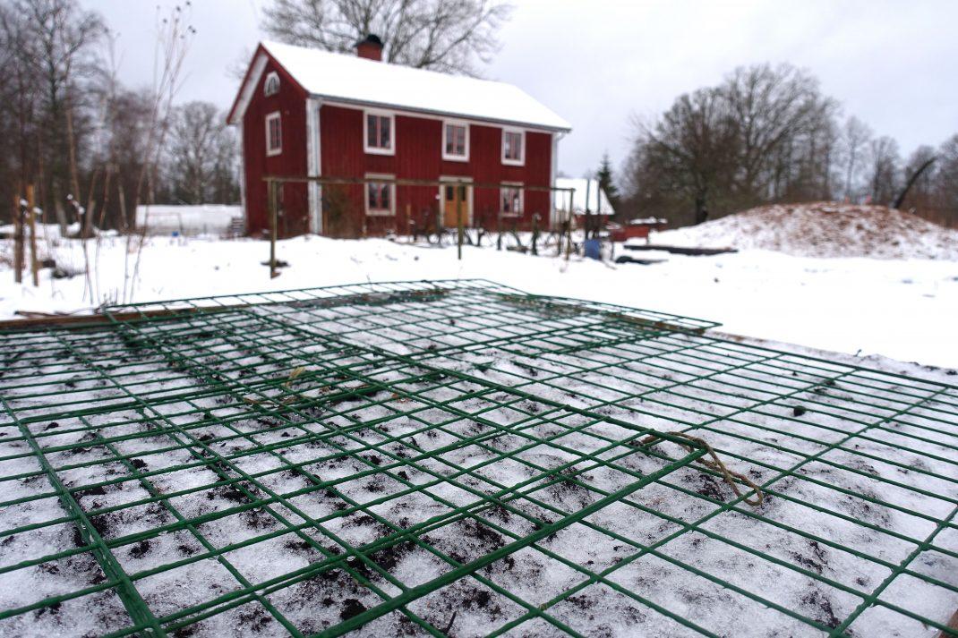 Vintrig trädgård med snö och en odlingslåda täckt med kompostgaller i förgrunden.