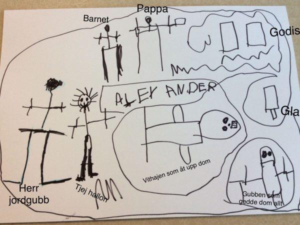 En teckning med många figurer gjorda av barn.