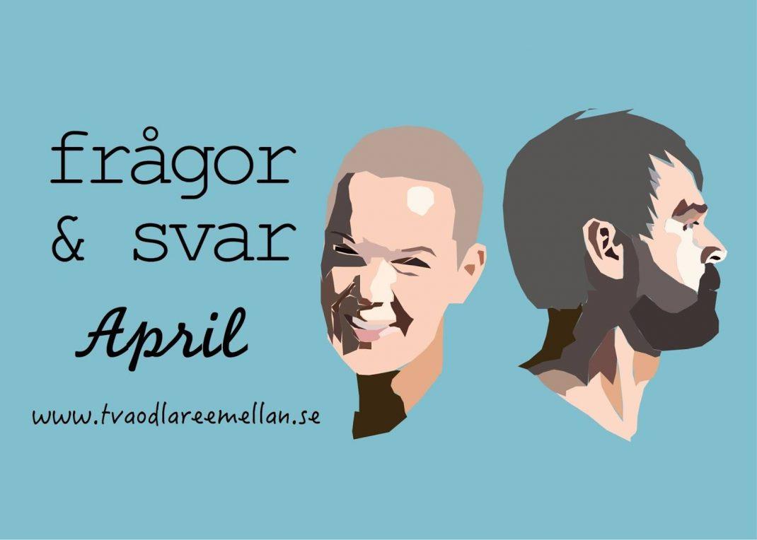 Mot en blå bakgrund syns två illustrerade porträtt av Sara och Johannes bredvid texter Frågor & svar April, Två odlare emellan.