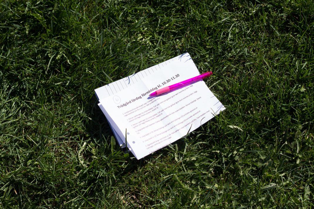 En ihopvikt lista ligger i gräset tillsammans med en rosa penna.