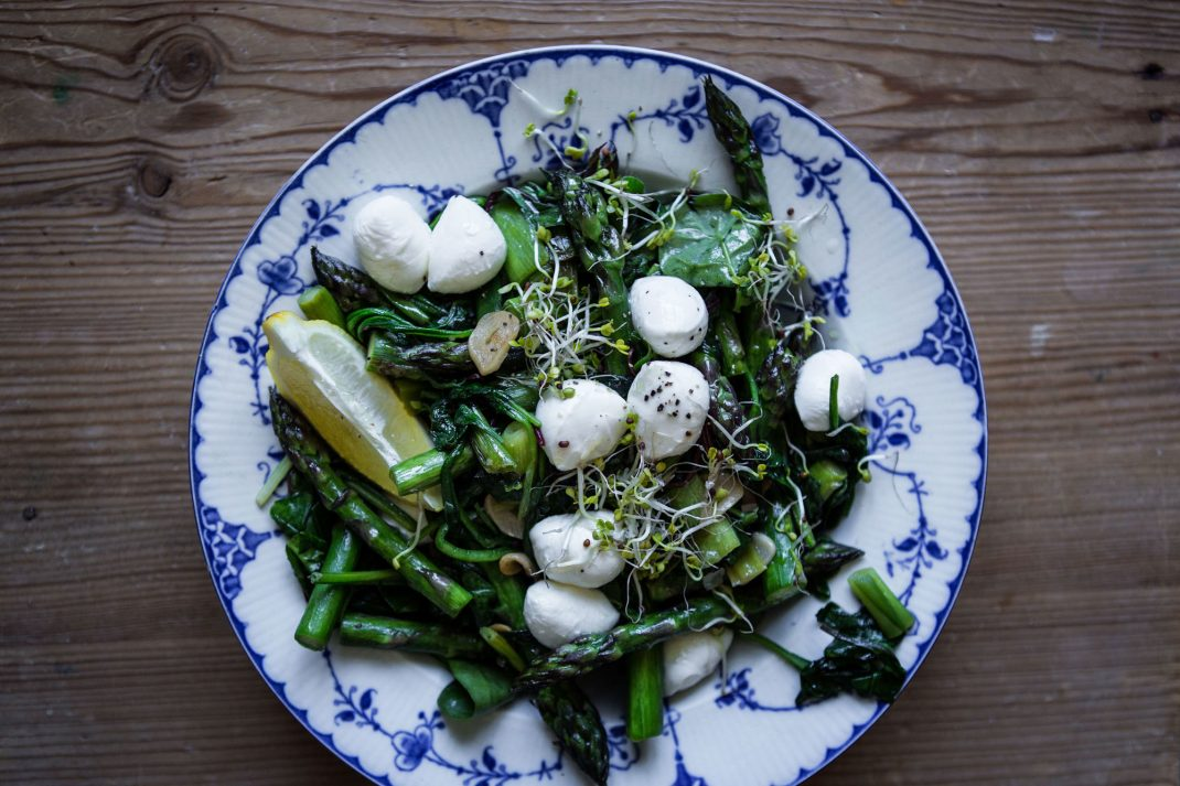 Vårgrönsaker i en härlig mix med groddar, citron och små mozzarellakulor på en blåvitmönstrdd tallrik.