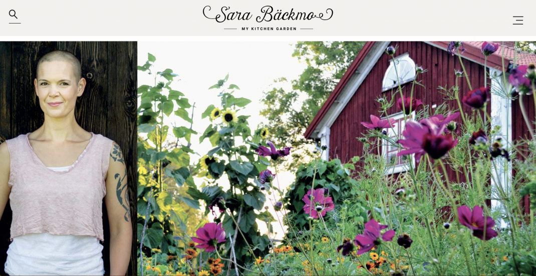 Picture of the header of my blog, a photo of me and a photo of my red house in a flowering garden.