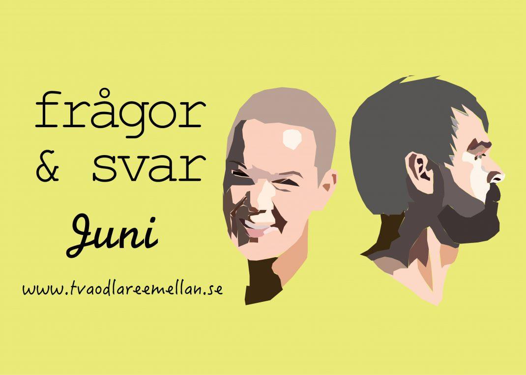 Illustrerade bilder av Johannes och Sara mot en gul bakgrund. med texten Frågor och svar juni.