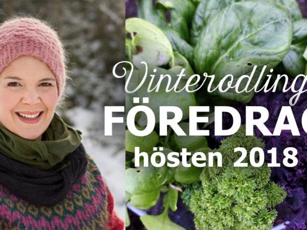 Bildcollage av Sara med grönsaker och texten Vinterodling, föredrag hösten 2018.