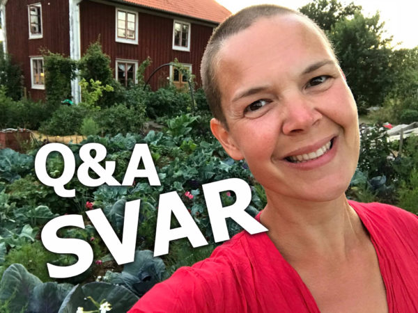 """Bild av Sara i trädgården framför huset, med vit text """"Q&A SVAR"""" ovanpå."""
