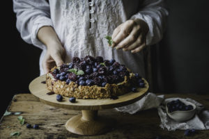 A wonderful cheesecake with berries from the garden.