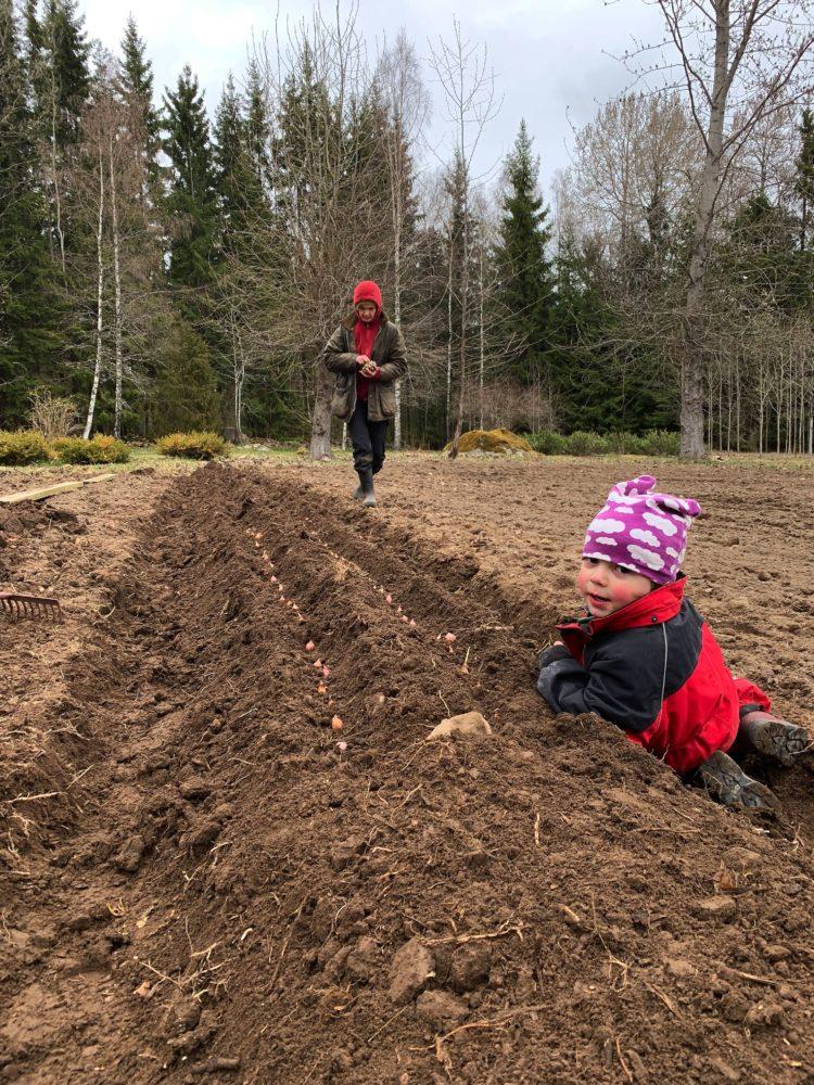 Sara och ett litet barn jobbar vid den upphöjda bädden. Barn i vinteroverall.