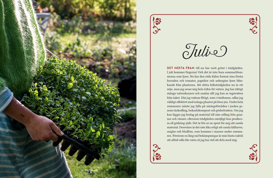 Ett bokuppslag med bild på Sara som håller ett tråg med gröna blad.