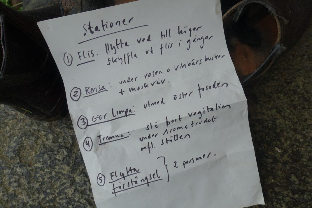 Ett handskrivet papper med fem punkter.