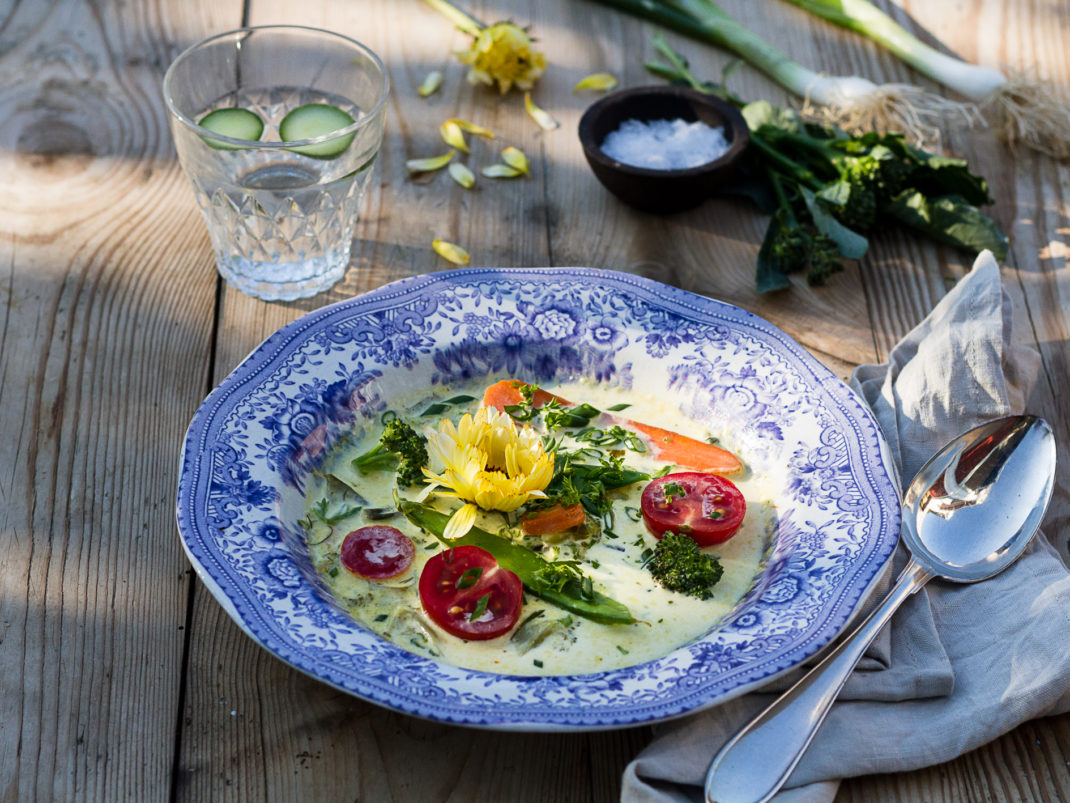 Vacker soppa av sommarens grönsaker.