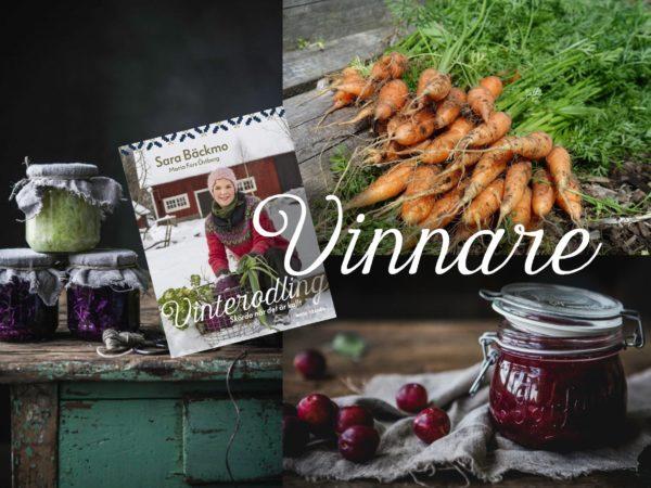 Ett bildkollage med recept och bok och text Vinnare