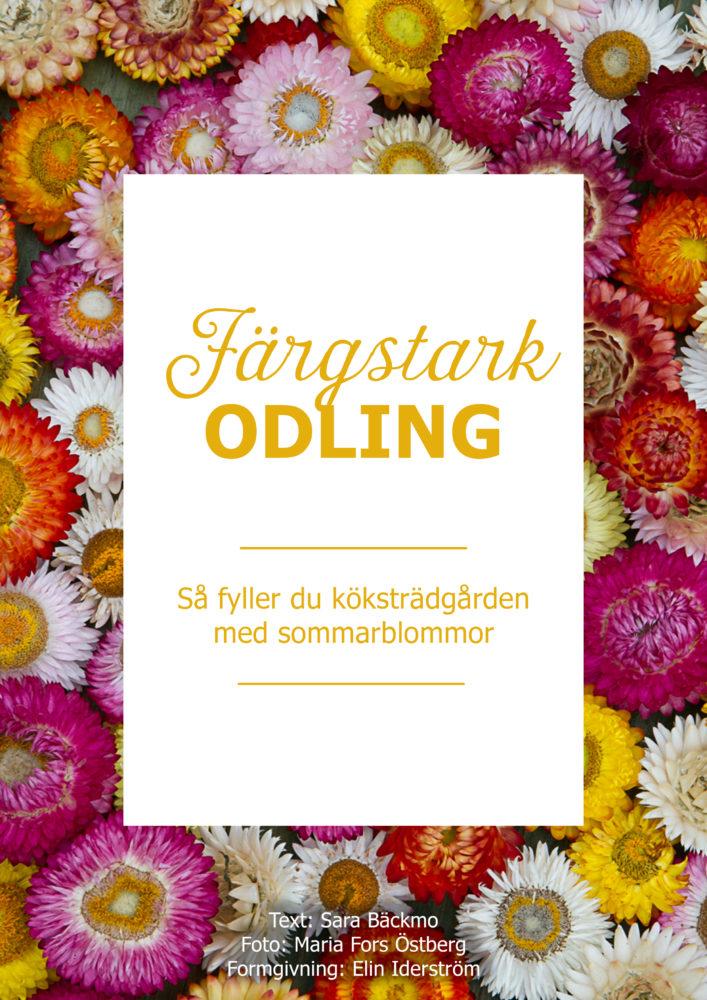 Ett blommande omslag till guiden Färgstark odling - Så fyller du köksträdgården med sommarblommor