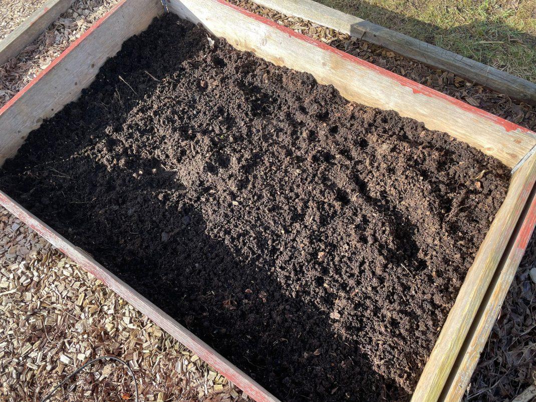 En vanlig pallkrage med jord i.