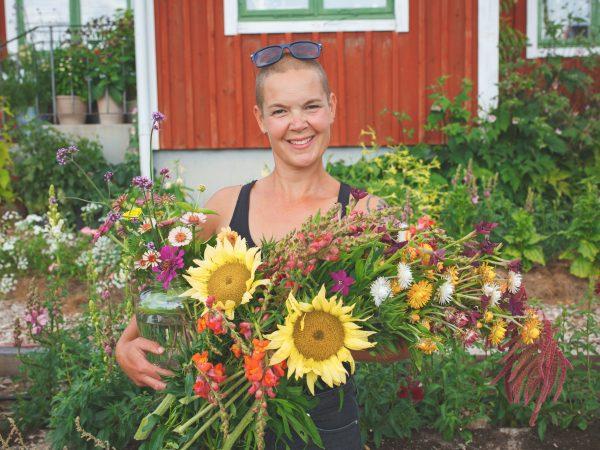 Sara håller i stort fång med snittblommor odlade från frö