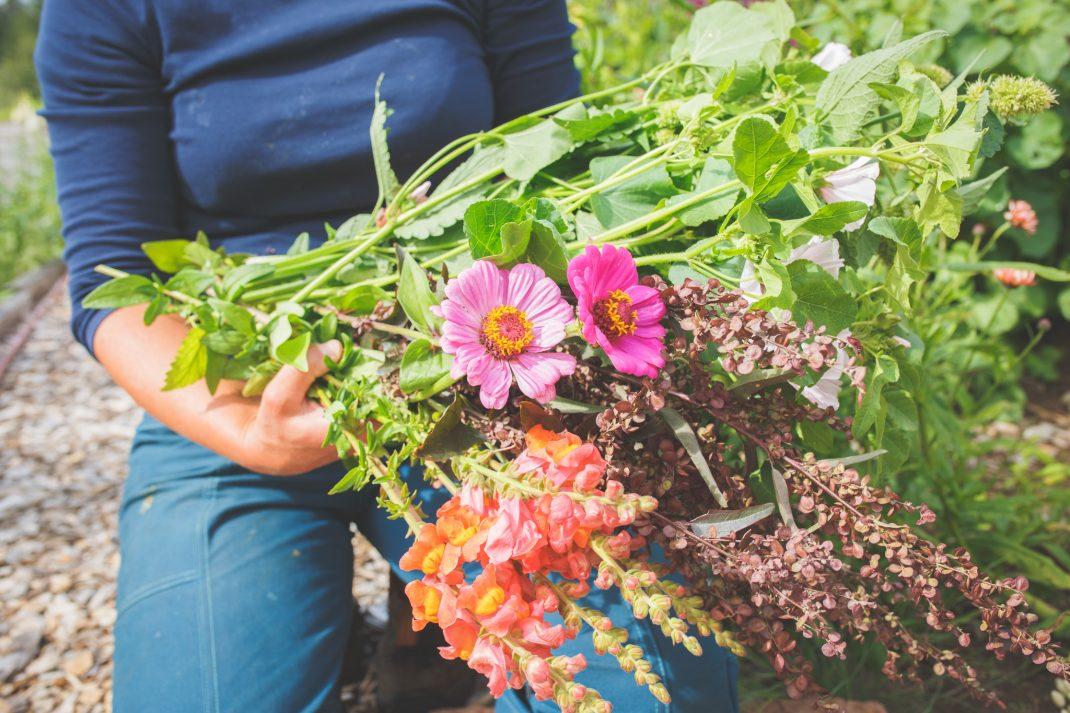 Sara med ett fång blommor